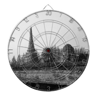 A black and white image of an old temple. dartboard