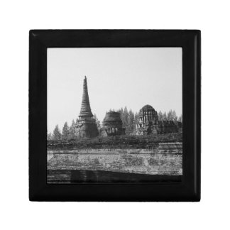 A black and white image of an old temple. gift box