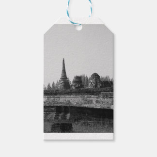 A black and white image of an old temple. gift tags