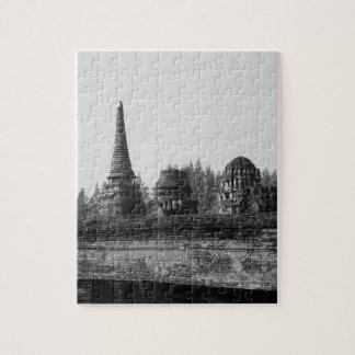 A black and white image of an old temple. jigsaw puzzle