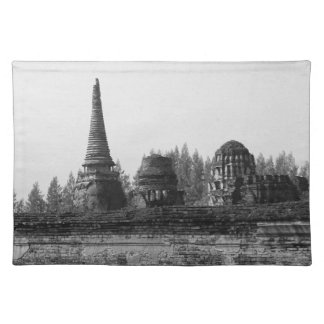 A black and white image of an old temple. placemat