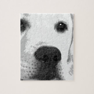 A black and white Labrador retriever Jigsaw Puzzle