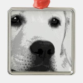 A black and white Labrador retriever Metal Ornament