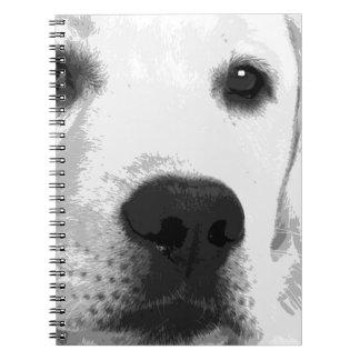 A black and white Labrador retriever Notebook