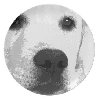 A black and white Labrador retriever Plate