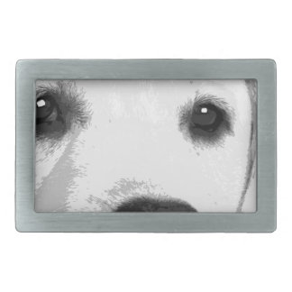 A black and white Labrador retriever Rectangular Belt Buckles