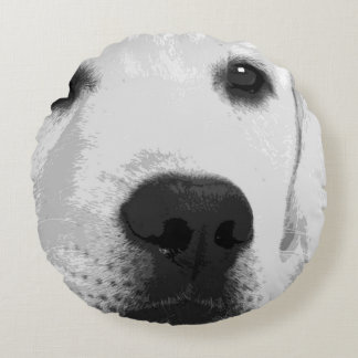 A black and white Labrador retriever Round Pillow