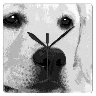 A black and white Labrador retriever Square Wall Clock