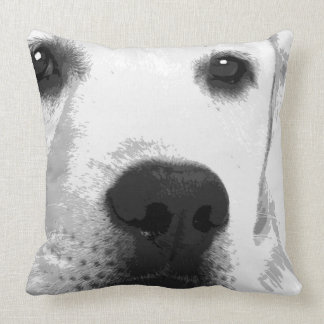 A black and white Labrador retriever Throw Pillow