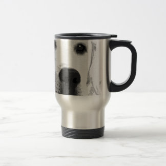 A black and white Labrador retriever Travel Mug