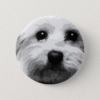 A black and white Maltese 2 Inch Round Button