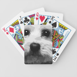 A black and white Maltese Bicycle Playing Cards