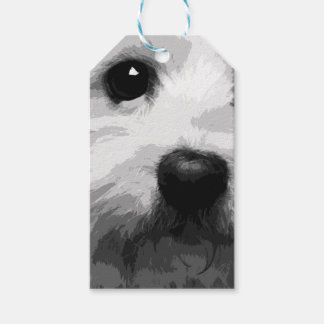 A black and white Maltese Gift Tags