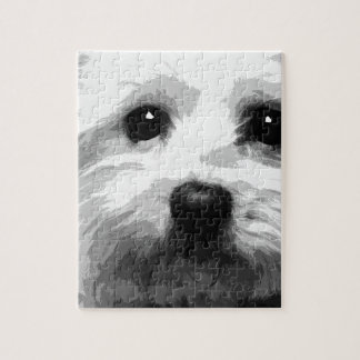 A black and white Maltese Jigsaw Puzzle