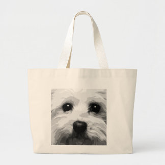 A black and white Maltese Large Tote Bag