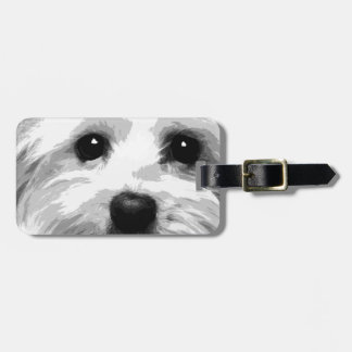 A black and white Maltese Luggage Tag