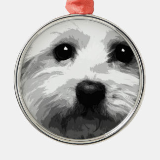 A black and white Maltese Metal Ornament