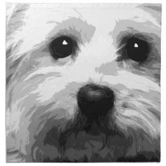 A black and white Maltese Napkin