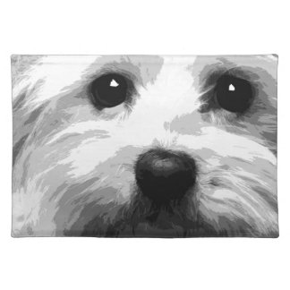 A black and white Maltese Placemat