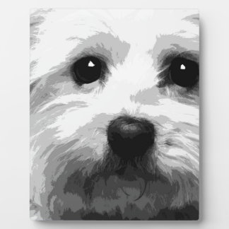 A black and white Maltese Plaque