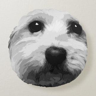 A black and white Maltese Round Pillow