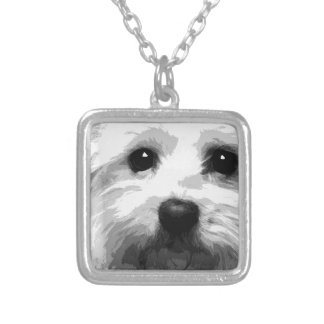A black and white Maltese Silver Plated Necklace