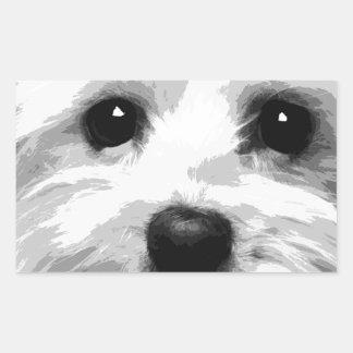 A black and white Maltese Sticker