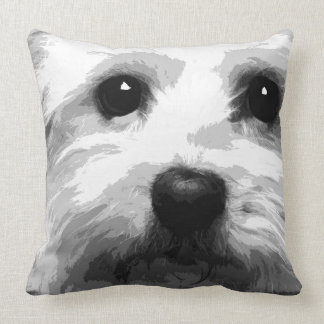 A black and white Maltese Throw Pillow