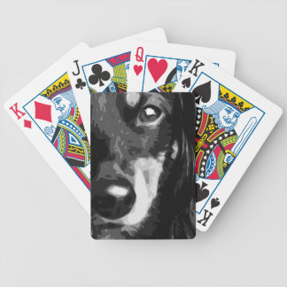 A black and white Miniature Dachshund Bicycle Playing Cards