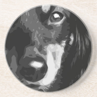 A black and white Miniature Dachshund Coaster
