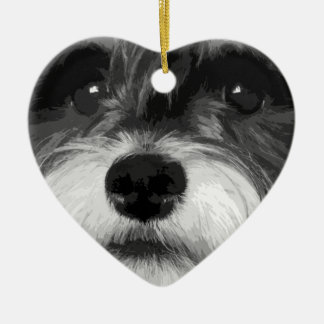A black and white Miniature Schnauzer Ceramic Ornament