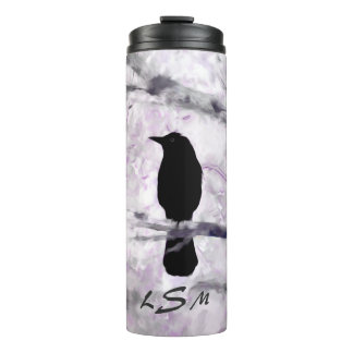 A Black Bird on a Branch with Purple, Pink and Gra Thermal Tumbler