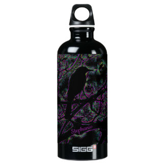 A Black Bird with a Trippy Electric Edit Water Bottle