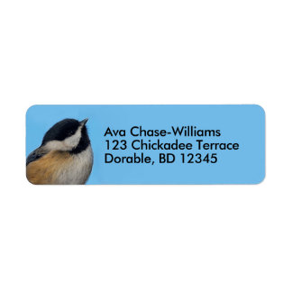 A Black-Capped Chickadee on the Pear Tree Return Address Label