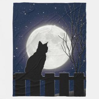 A Black cat and full moon, navy sky Fleece Blanket