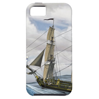 A Black Corvette Sailing Between Large Waves iPhone 5 Case