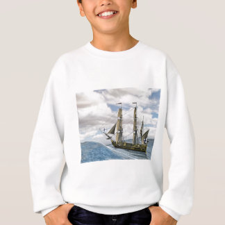A Black Corvette Sailing Between Large Waves Sweatshirt