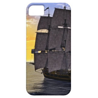 A Black Corvette Sailing Ship and the Setting Sun iPhone 5 Case