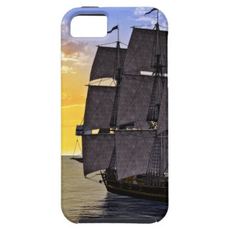 A Black Corvette Sailing Ship and the Setting Sun iPhone 5 Cover