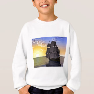 A Black Corvette Sailing Ship and the Setting Sun Sweatshirt