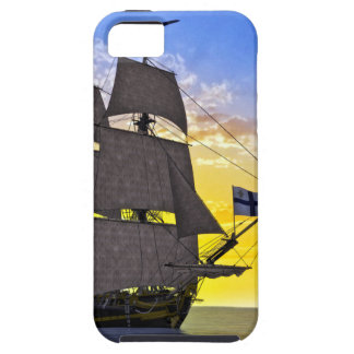A Black Corvette Sailing Ship Before the Sun iPhone 5 Cover