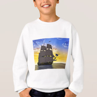 A Black Corvette Sailing Ship Before the Sun Sweatshirt