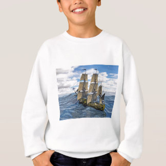 A Black Corvette Saling up a Large Wave Sweatshirt