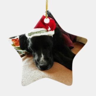 A Black Dog At Christmas with His Santa Hat Ceramic Ornament
