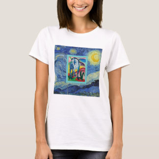 A Blue Horse In The Starry Night T-Shirt