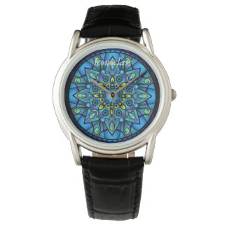 A blue Mandala inspired Japanese quartz watch