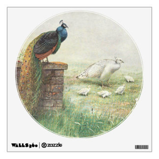 A Blue Peacock and white peahen with chicks Wall Sticker