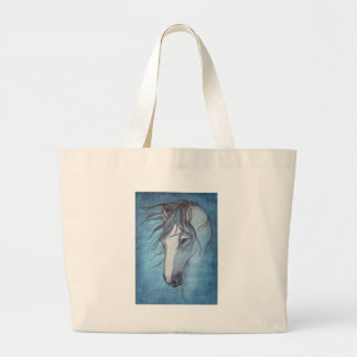 A blue roan horse in the wind large tote bag