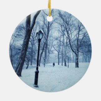 A Blustery Walk In The Park Round Ceramic Ornament