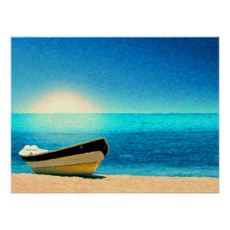A boat beneath a sunny sky poster